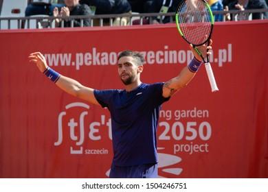 Szczecin / Poland - September 14th 2019: PEKAO Szczecin Open - Winner of Semifinal in singles men - Guido Andreozzi (ARG)