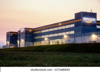 Szczecin, Poland-August 2018: Amazon logistics center near Szczecin in Poland-panorama
