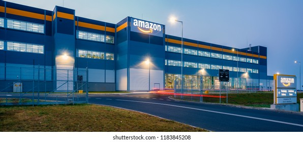 Szczecin, Poland-August 2018: Amazon logistics center near Szczecin in Poland-panorama