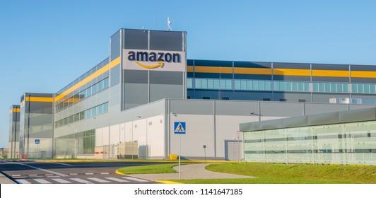 Szczecin, Poland-July 2018: Amazon logistics center near Szczecin in Poland-panorama