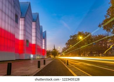Szczecin, Poland-November 2018: A view of the city of Szczecin from the area of the Philharmonic in Szczecin