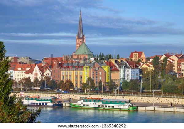 Szczecin (Stettin) cityscape in morning warm sunlight, Poland.