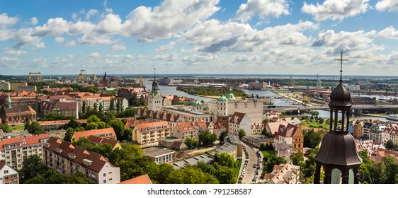 Szczecin view from the Basilica of the city, the castle and the Odra River. Landscape of Szczecin from the viewpoint.