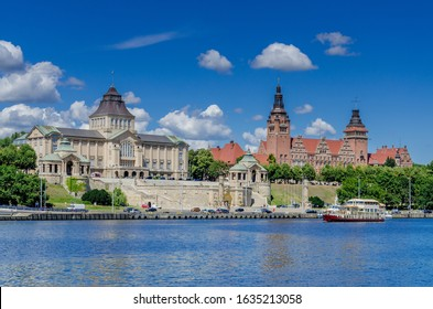 SZCZECIN, WEST POMERANIA PROVINCE / POLAND - JULY 18, 2019. Waly Chrobrego - Hakenterrasse (Haken Terrace), The National Museum main building and Voivodeship office. View across the Odra river.