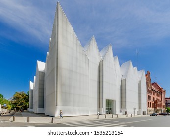 SZCZECIN, WEST POMERANIA PROVINCE / POLAND - JULY 18, 2019. Philharmonic Hall designed by Estudio Barozzi Veiga, awarded Mies van der Rohe Prize in 2015.