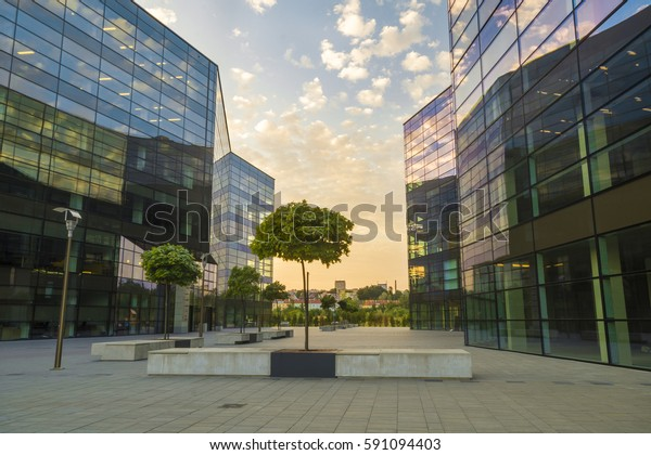 SZCZECIN,POLAND-27 JULY 2016:modern complex of office buildings in the evening