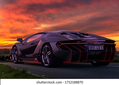 Szczecin,Poland-April 2020:Lamborghini supercar driving down the road during a dramatic sunset