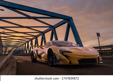 Szczecin,Poland-April 2020:McLaren P1 GTR, McLaren racing hypercar on a truss bridge