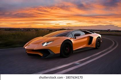 Szczecin,Poland-August 2020:Lamborghini Aventador when cornering.