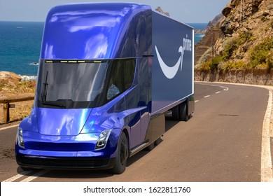 Szczecin,Poland-January 20120:Tesla Semi Truck with a semi-trailer with the Amazon Prime logo