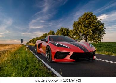 Szczecin,Poland-September 2020:Chevrolet Corvette C8 on the road