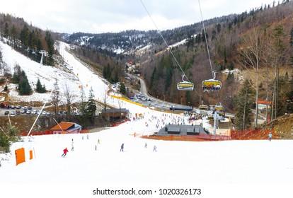 Szczyrk Solisko in polish Beskidy Mountain. Ski Mountain Resort