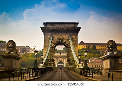 The Szechenyi Chain Bridge is a beautiful, decorative suspension bridge that spans the River Danube of Budapest, the capital of Hungary.