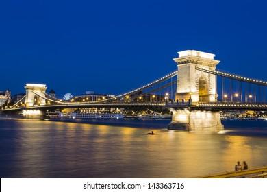The Szechenyi Chain Bridge in Budapest,Hungary