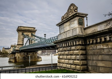 The Szechenyi Chain Bridge crossing the Danube River in Budapest.