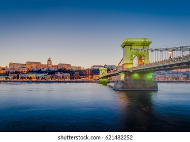 The Szechenyi Chain Bridge (Szechenyi lanchid) a suspension bridge that spans the River Danube between Buda and Pest, the western and eastern sides of Budapest in Hungary.
