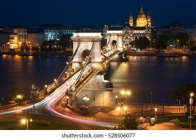 Szechenyi Chain Bridge at Night. Budapest Hungary.