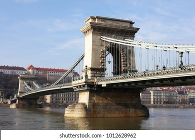 Szechenyi Chain Bridge over Danube River, Budapest, Europe