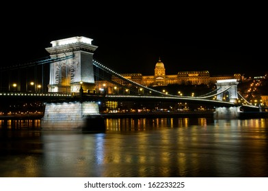 The Szechenyi Chain Bridge over Danube river in Budapest, Hungary