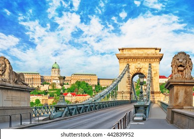 Szechenyi Chain Bridge-one of the most beautiful bridges of Budapest, Hungary.