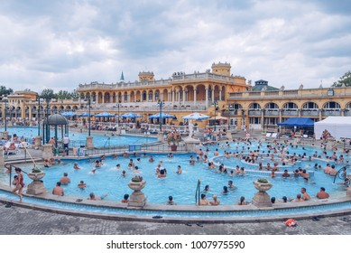 Szechenyi Thermal Bath - open air thermal bath complex in Budapest. Hungary, Budapest. July 14, 2014