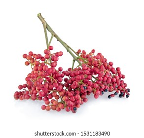 Szechuan pepper (Zanthoxylum piperitum), fruits isolated on white background