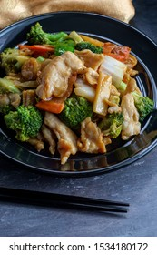 Szechuan stir fried chicken with chinese vegetables