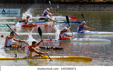 Szeged Hungary 24 Aug 2019:  Man's kayak final., The last 40 m.   More than 1000 athletes from over 100 countries met in Szeged for kayak canoe world championship.