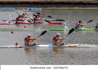 Szeged Hungary 24 Aug 2019: Men 500 m final, at the last 40 m. More than 1000 athletes from over 100 countries met in Szeged for kayak canoe world championship.