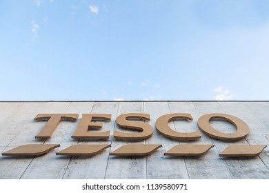 SZEGED, HUNGARY - JULY 3, 2018: Tesco on their main supermaket in Szeged. Tesco is a british supermarket, groceries and general merchandise retailer spread in Europe