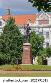 Szeged, Hungary - June 16, 2021: Equestrian Statue of King Bela IV. at Szechenyi Park in Szeged, Hungary.