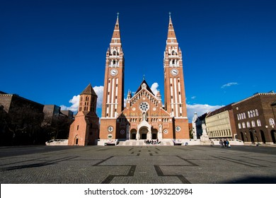 Szeged, Hungary - March 13, 2018: Votive Church and Cathedral of Our Lady of Hungary in Szeged
