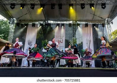SZEKESFEHERVAR,HUNGARY - AUGUST 13. 2017 : 22th Royal Days International Folk Dance Festival organized annually in Székesfehérvár, Hungary.Alba Regia Dance Association on the outdoor stage.