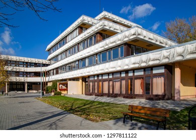 SZEKESFEHERVAR,HUNGARY - NOVEMBER 03,2017.: The modern building of the Lakeside High School and Art Gymnasium in Szekesfehervar.The school since 1989 is one of the youngest high schools in the city.