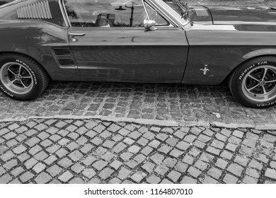 Szentendre Hungary 2018: Vintage red Ford Mustang 1967 muscle car on street