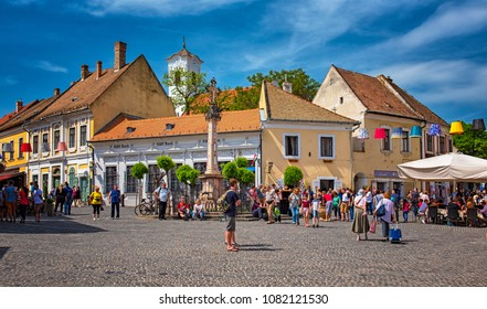 SZENTENDRE, HUNGARY - 30 APRIL, 2018: Tourists in the main square of the historic old town of Szentendre, Hungary on 30 April, 2018.