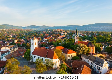 Szentendre, Hungary -  Amazing aerial view about the Belgrade serbian orthodox cathedral and St. John's Parish Church in the heart of the city.