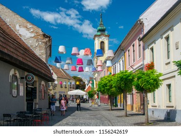 SZENTENDRE, HUNGARY - AUGUST 2, 2018: Scenic view of old town of Szentendre. Szentendre is town of arts and popular destination for tourists staying in Budapest. Szentendre, Hungary on August 2, 2018