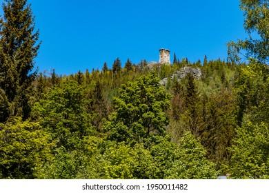 Szklarska Poreba, Poland - June 3 2020: High tower over trees at peak of Wysoki Kamien mountain