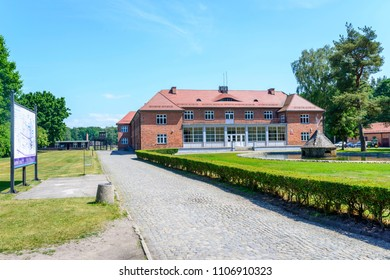 SZTUTOWO - MAY 28: Administration building in the concentration camp Stutthof in Sztutowo, Poland on May 28, 2018. Stutthof was the German concentration camp on Polish territory during World War II.