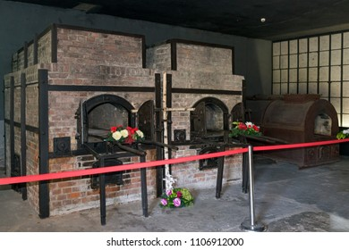 SZTUTOWO - MAY 28: Furnace crematorium in the concentration camp Stutthof in Sztutowo, Poland on May 28, 2018. Stutthof was the German concentration camp on Polish territory during World War II.