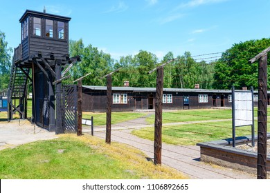 SZTUTOWO - MAY 28: Gate at the entrance of in the concentration camp Stutthof in Sztutowo, Poland on May 28, 2018. Stutthof was the German concentration camp on Polish territory during World War II.