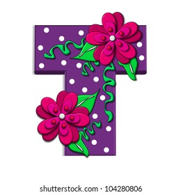 """T, in the alphabet set """"Clinging Vine"""", is decorated with mod flowers in three layers.  Letters are purple and vines and leaves are mint green."""