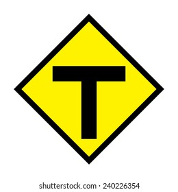 T junction traffic sign on white background