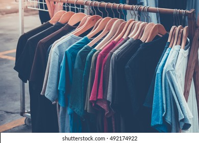 T shirt many color on rack. retro picture style