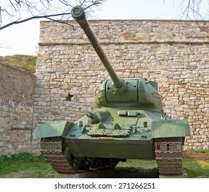 T34 Soviet tank on outdoor exibition