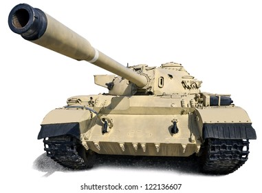 T-55 - Soviet medium tank. Is based on the T-54. Produced from 1958 to 1979. Isolation on white.