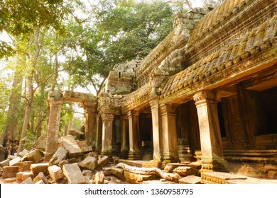 Ta Prohm, the temple at Angkor, Siem Reap, Cambodia. The photogenic place because trees are growing out of the ruins.