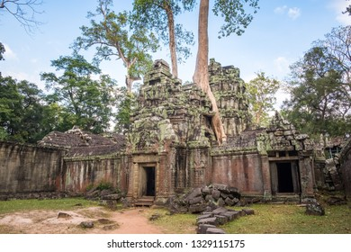 Ta Prohm temple, one of Angkor's best visited monuments. It is known for the huge trees and massive roots growing out of its walls in Siem Reap, Cambodia.