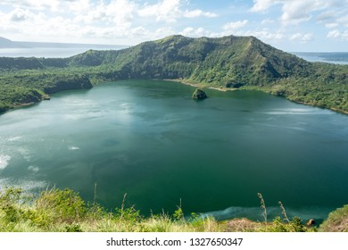 Taal Volcano, Luzon Island North of Manila, Philippines. View from the top of volcano. Second most active volcano in the Philippines with 33 historical eruptions.